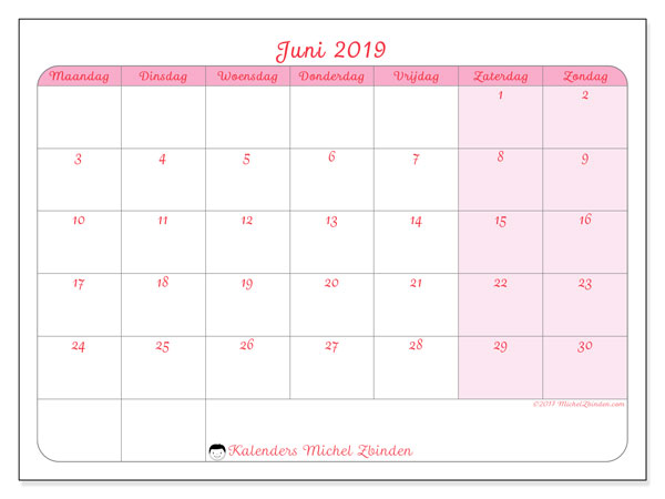 Kalender juni 2019, 63MZ. Gratis afdrukbare kalender.