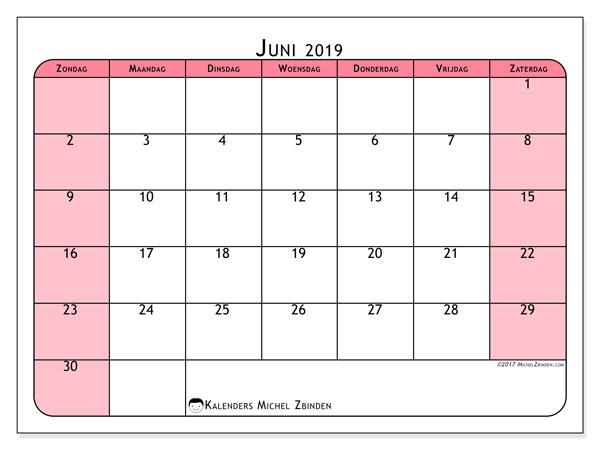 Kalender juni 2019, 64ZZ. Kalender voor de maand die gratis moet worden afgedrukt.