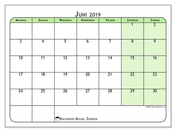 Kalender juni 2019, 65MZ. Schema om gratis te printen.