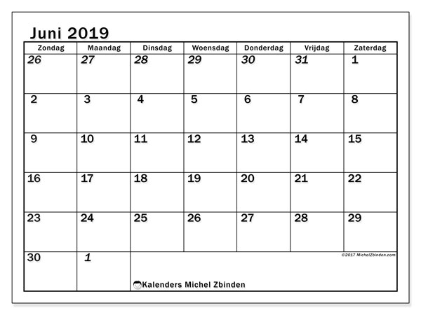 Kalender juni 2019, 66ZZ. Gratis kalender om af te drukken.