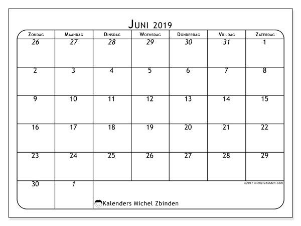 Kalender juni 2019 (67ZZ). Gratis afdrukbare kalender.