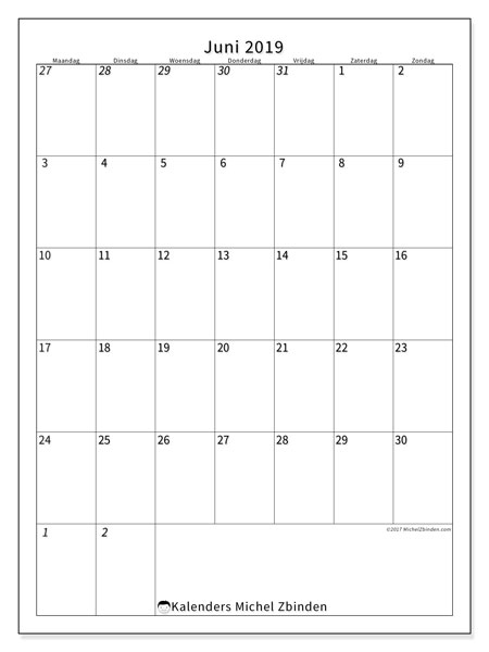 Kalender  juni 2019, 68MZ