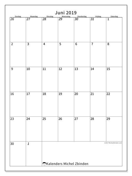 Kalender juni 2019, 68ZZ. Gratis afdrukbare kalender.