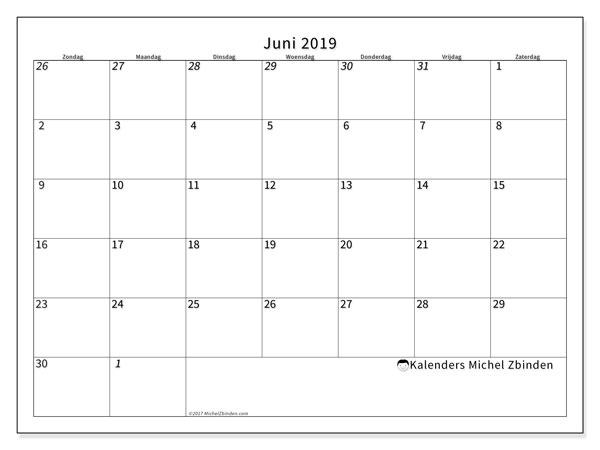 Kalender juni 2019, 70ZZ. Kalender om gratis te printen.