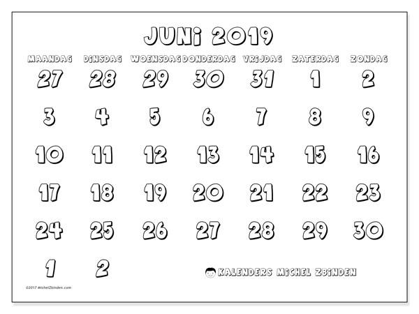 Kalender juni 2019, 71MZ. Kalender voor de maand die gratis moet worden afgedrukt.