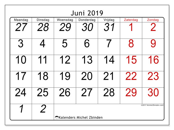 Kalender juni 2019, 72MZ. Gratis afdrukbare kalender.