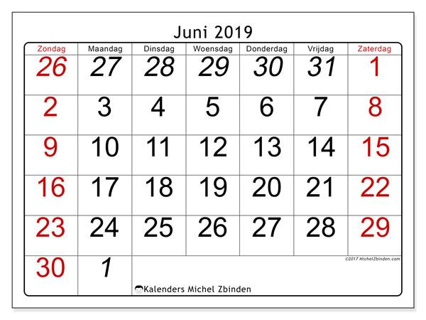 Kalender juni 2019, 72ZZ. Kalender voor de maand die gratis moet worden afgedrukt.