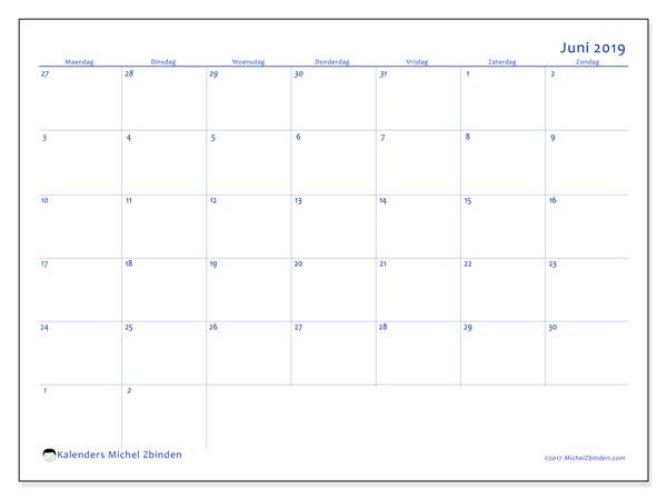 Kalender juni 2019, 73MZ. Kalender voor de maand die gratis moet worden afgedrukt.