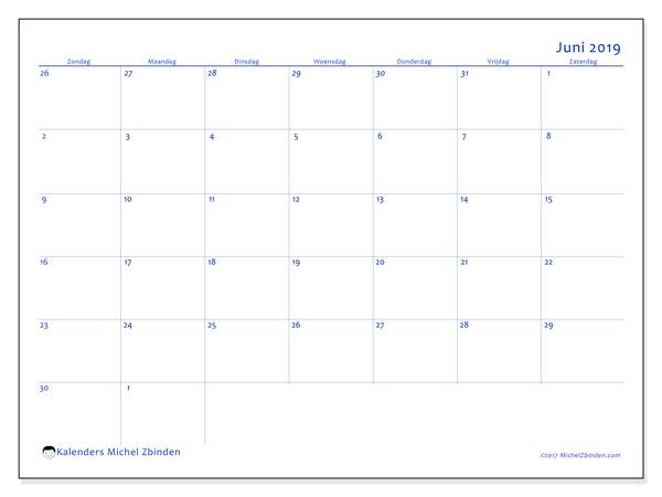 Kalender juni 2019, 73ZZ. Kalender om gratis te printen.