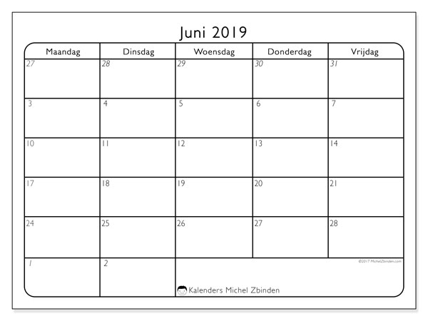Kalender juni 2019, 74ZZ. Maandkalender om gratis te printen.