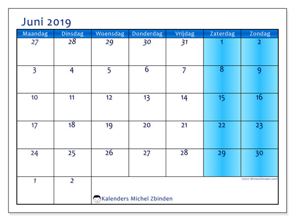 Kalender juni 2019, 75MZ. Kalender voor de maand die gratis moet worden afgedrukt.