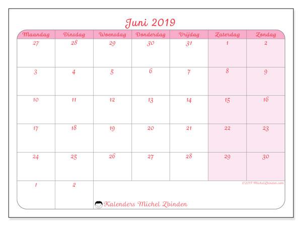 Kalender juni 2019, 76MZ. Agenda om gratis te printen.