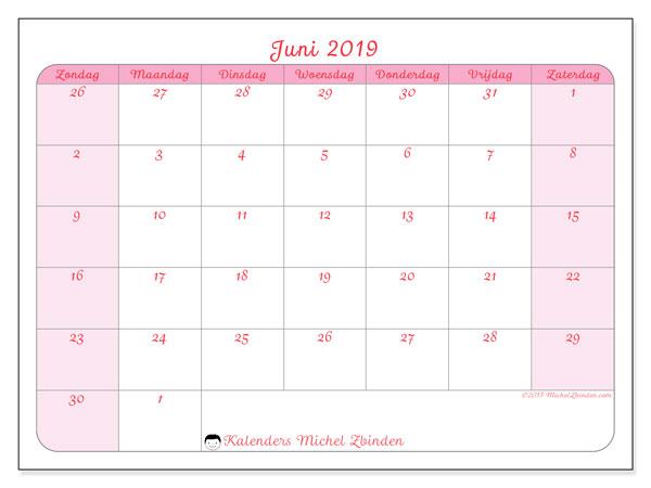 Kalender juni 2019, 76ZZ. Schema om gratis te printen.