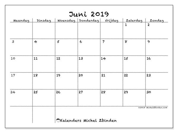 Kalender juni 2019, 77MZ. Gratis afdrukbare kalender.