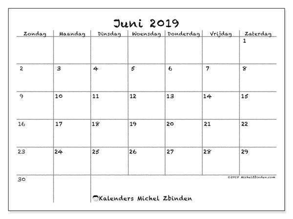 Kalender juni 2019, 77ZZ. Kalender om gratis af te drukken.