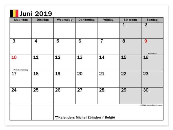 Kalender juni 2019 met de feestdagen van België. Gratis printbare kalender.