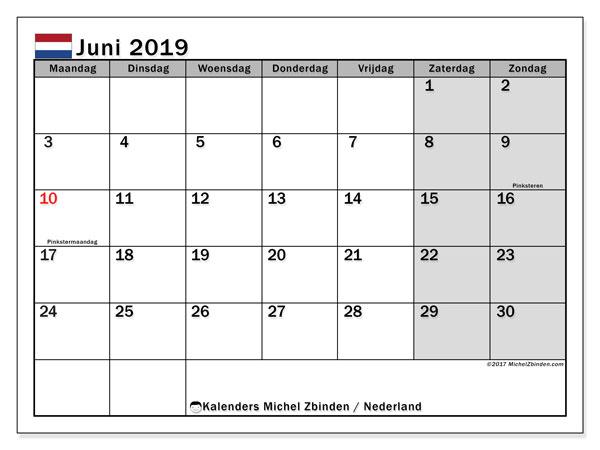 Kalender juni 2019 met de feestdagen van Nederland. Gratis afdrukbare kalender.
