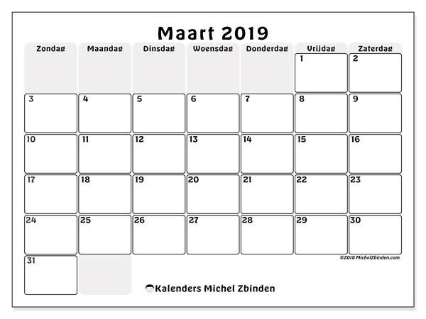 Kalender maart 2019, 44ZZ. Kalender om gratis af te drukken.