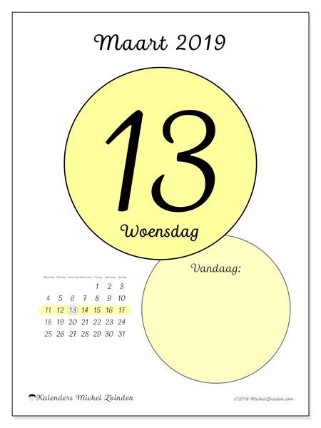 Kalender maart 2019, 45-13MZ. Dagelijkse kalender om gratis te printen.