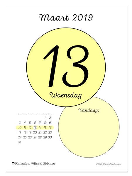 Kalender maart 2019, 45-13ZZ. Dagelijkse kalender om gratis te printen.