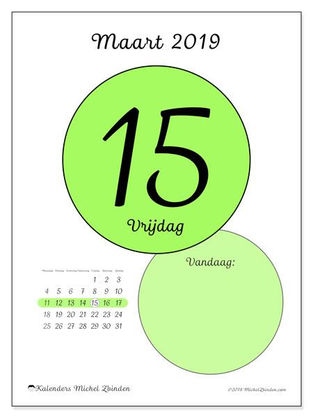 Kalender maart 2019 (45-15MZ). Kalender voor de dag om gratis te printen.