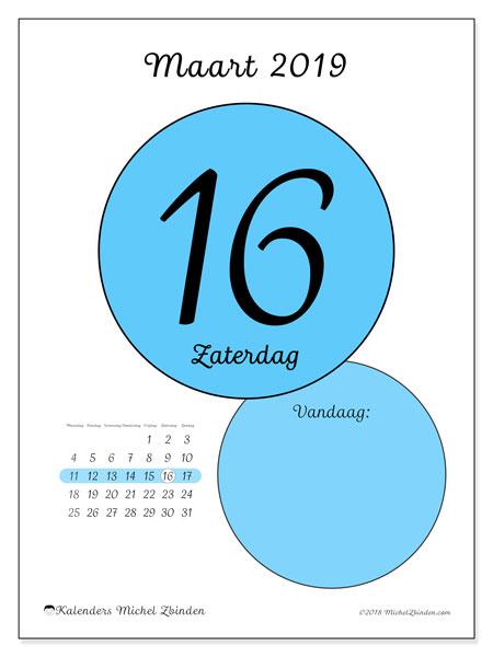 Kalender maart 2019, 45-16MZ. Dagelijkse kalender om gratis te printen.