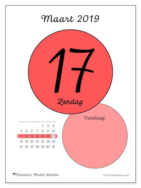 Kalender maart 2019 (45-17MZ). Dagelijkse kalender om gratis te printen.