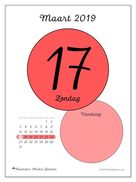 Kalender maart 2019, 45-17ZZ. Kalender voor de dag om gratis te printen.