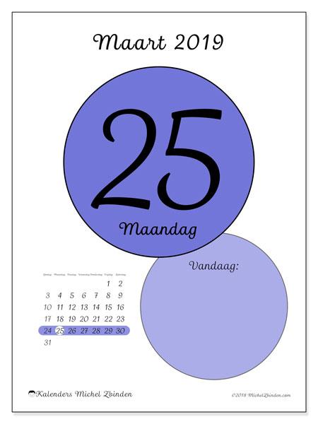 Kalender maart 2019, 45-25ZZ. Dagelijkse kalender om gratis te printen.