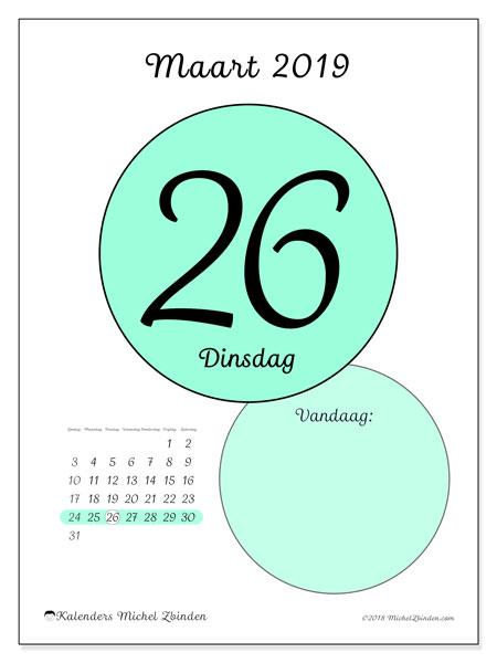Kalender maart 2019, 45-26ZZ. Dagelijkse kalender om gratis te printen.