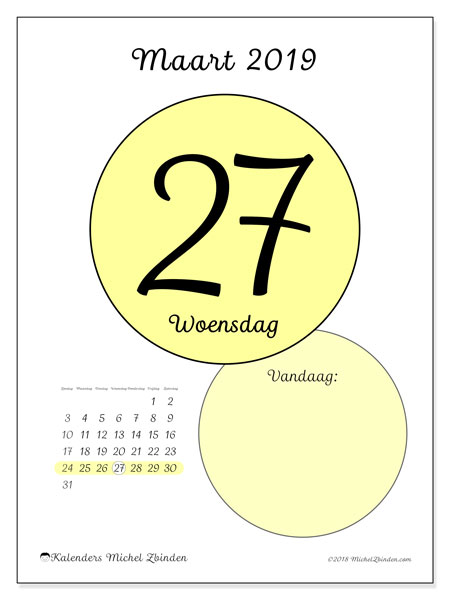 Kalender maart 2019, 45-27ZZ. Kalender voor de dag om gratis te printen.