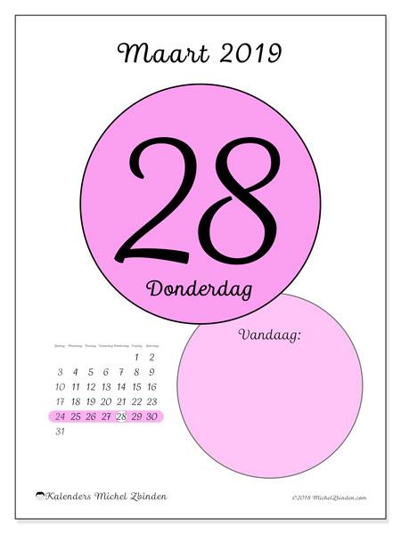 Kalender maart 2019, 45-28ZZ. Kalender voor de dag om gratis te printen.
