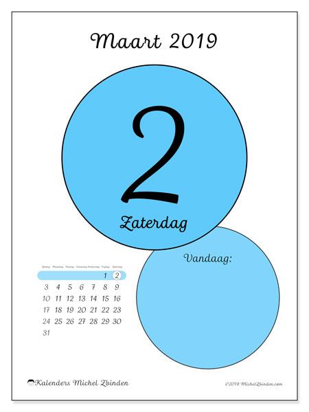 Kalender maart 2019, 45-2ZZ. Kalender voor de dag om gratis te printen.