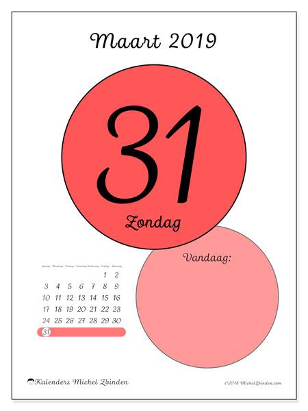 Kalender maart 2019, 45-31ZZ. Dagelijkse kalender om gratis te printen.