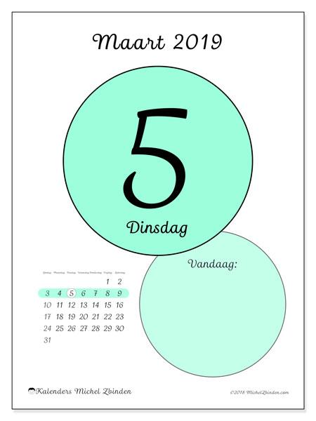 Kalender maart 2019, 45-5ZZ. Dagelijkse kalender om gratis te printen.