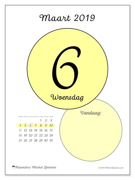 Kalender maart 2019, 45-6MZ. Kalender voor de dag om gratis te printen.