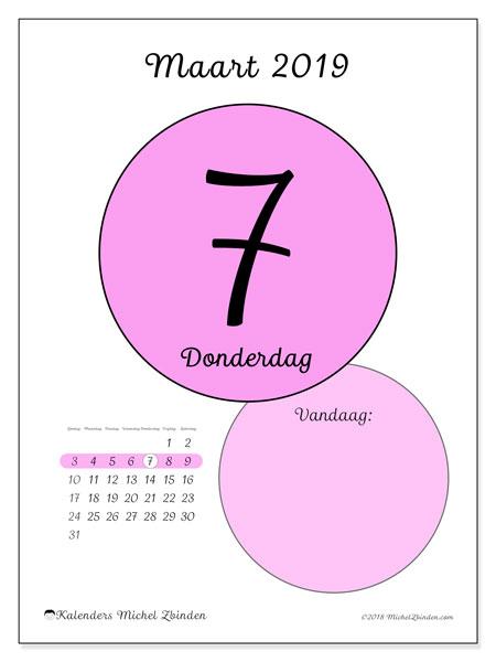 Kalender maart 2019, 45-7ZZ. Dagelijkse kalender om gratis te printen.