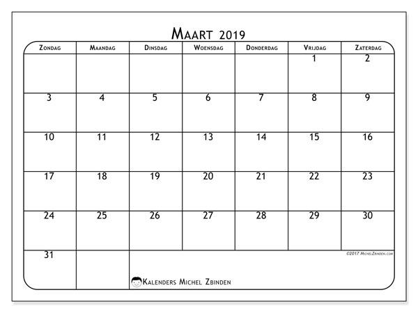 Kalender maart 2019, 51ZZ. Gratis printbare kalender.