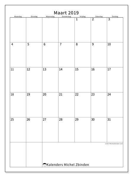 Kalender  maart 2019, 52MZ