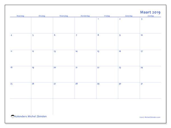 Kalender maart 2019, 55MZ. Maandkalender om gratis te printen.