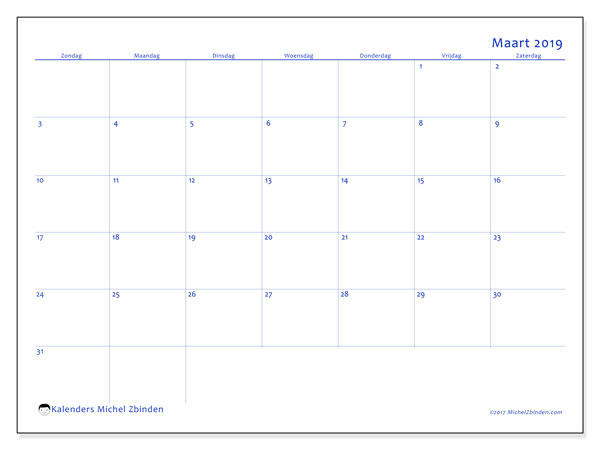 Kalender maart 2019, 55ZZ. Gratis kalender om af te drukken.