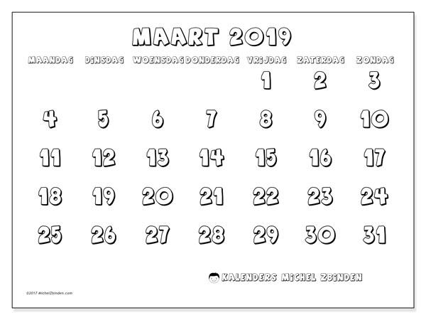 Kalender maart 2019, 56MZ. Kalender voor de maand die gratis moet worden afgedrukt.
