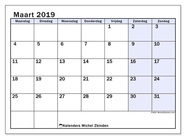 Kalender maart 2019, 57MZ. Gratis kalender om af te drukken.