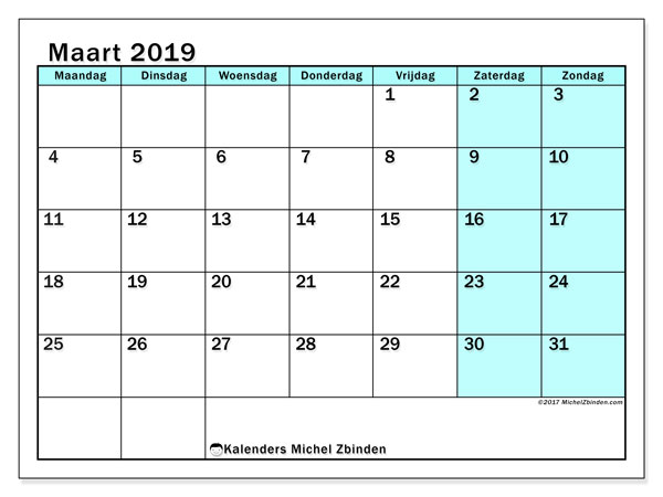 Kalender maart 2019, 59MZ. Maandkalender om gratis te printen.