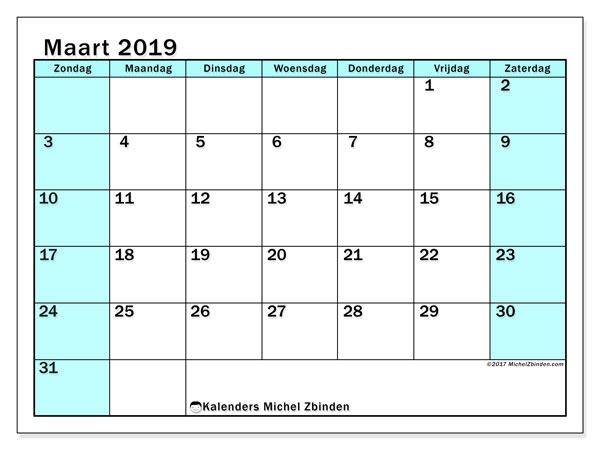 Kalender maart 2019, 59ZZ. Kalender voor de maand die gratis moet worden afgedrukt.