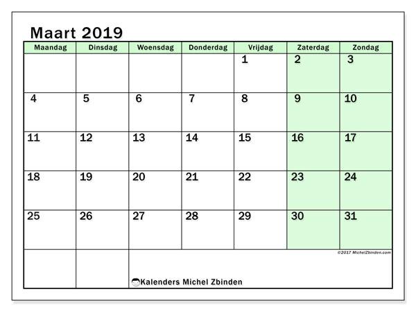 Kalender maart 2019, 60MZ. Kalender om gratis te printen.