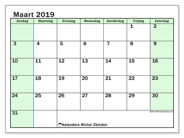 Kalender maart 2019, 60ZZ. Maandkalender om gratis te printen.