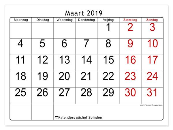 Kalender maart 2019, 62MZ. Maandkalender om gratis te printen.