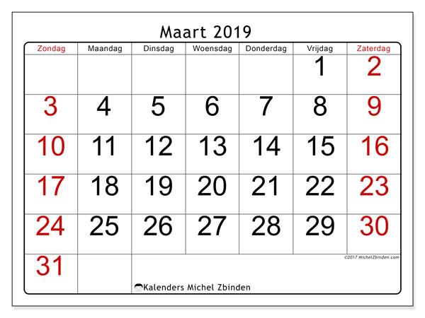 Kalender maart 2019, 62ZZ. Schema om gratis te printen.