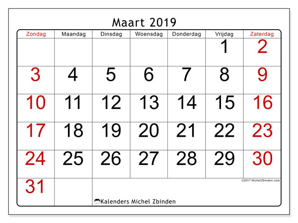 Kalender maart 2019, 62ZZ. Gratis printbare kalender.